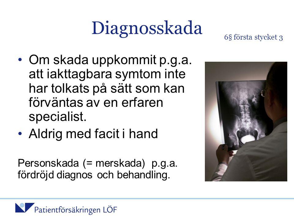Diagnosskada 6§ första stycket 3.