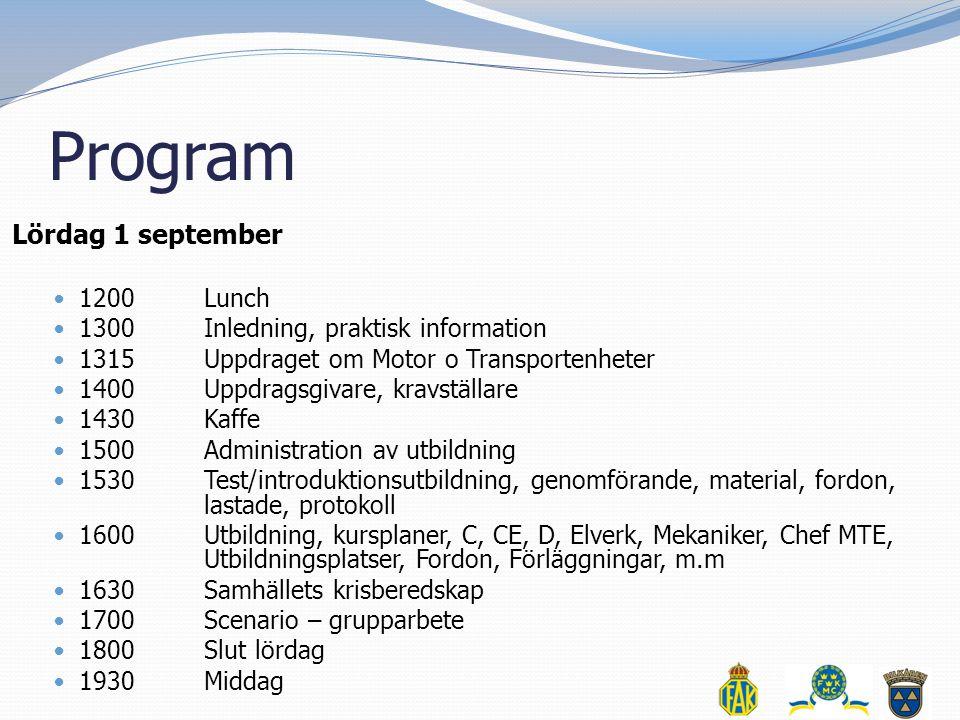 Program Lördag 1 september 1200 Lunch