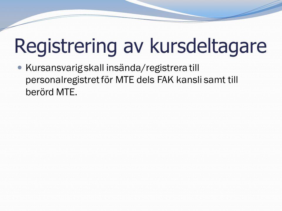 Registrering av kursdeltagare