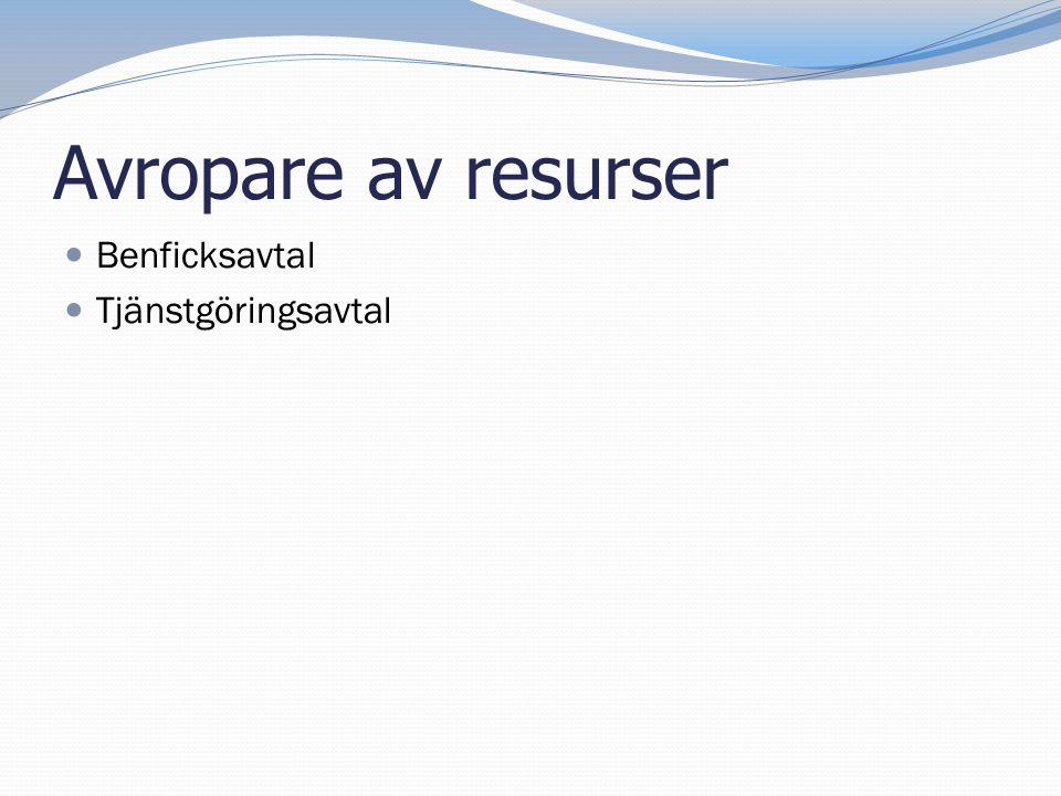 Avropare av resurser Benficksavtal Tjänstgöringsavtal