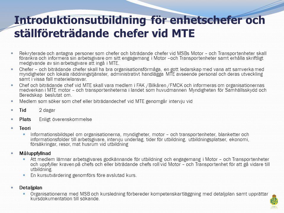 Introduktionsutbildning för enhetschefer och ställföreträdande chefer vid MTE