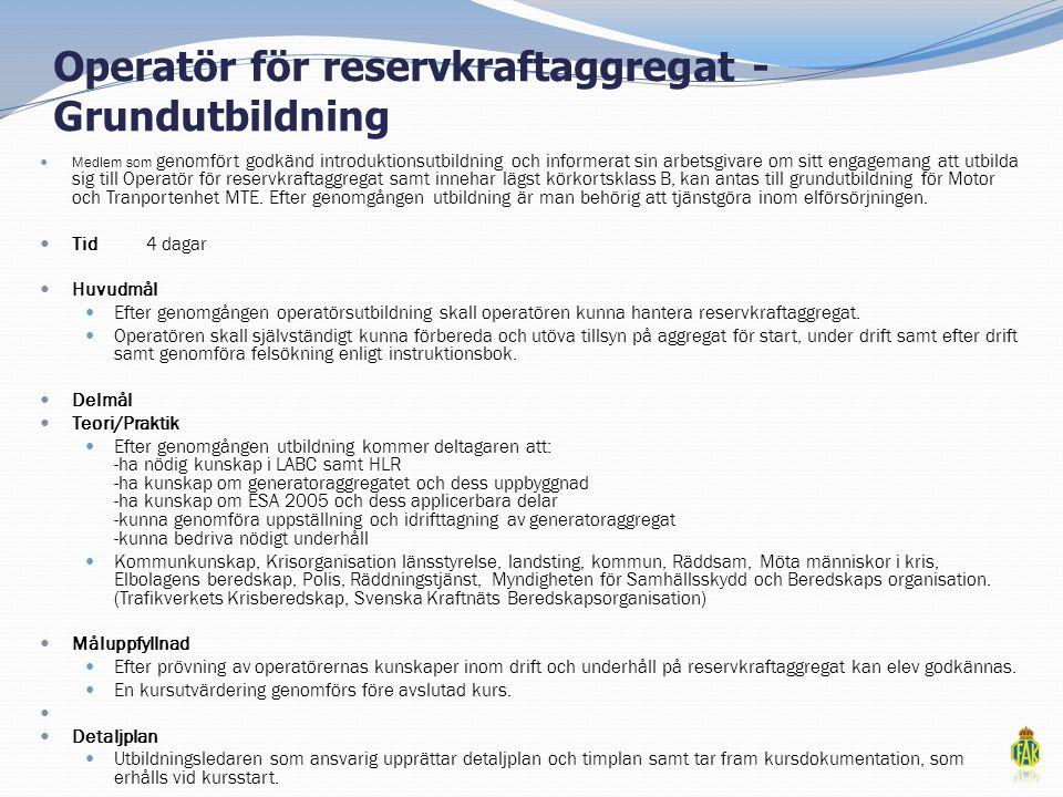 Operatör för reservkraftaggregat - Grundutbildning