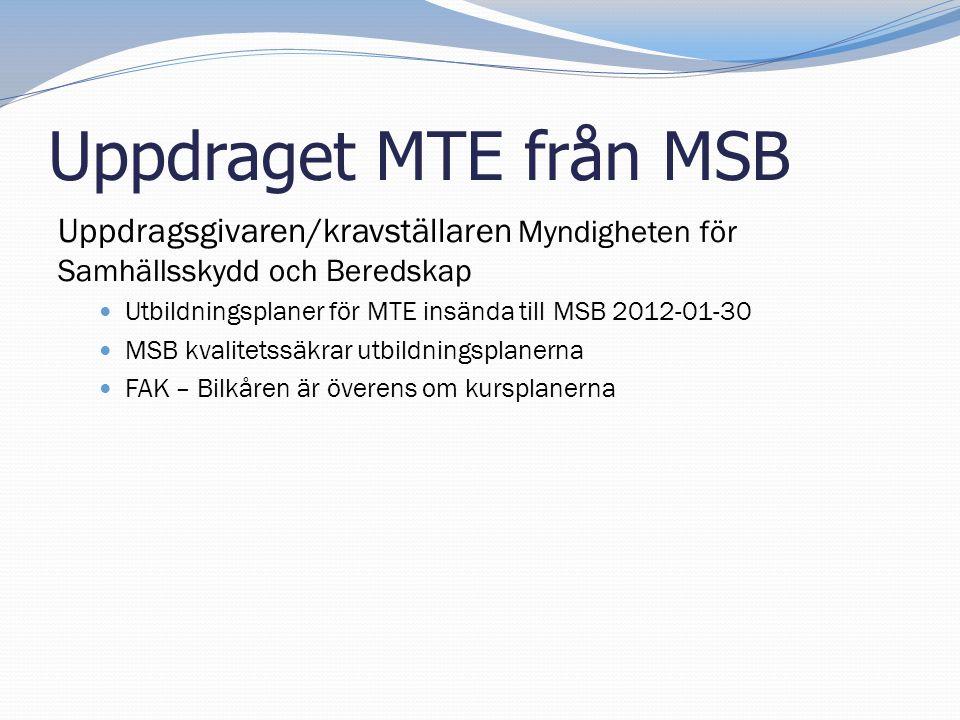 Uppdraget MTE från MSB Uppdragsgivaren/kravställaren Myndigheten för Samhällsskydd och Beredskap.