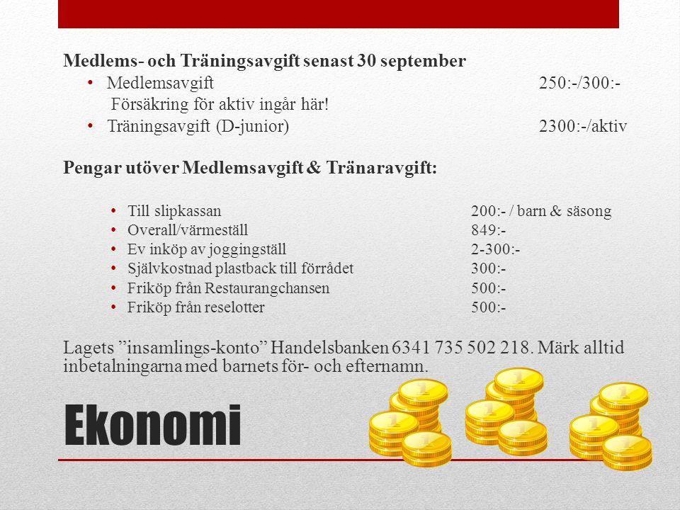 Ekonomi Medlems- och Träningsavgift senast 30 september