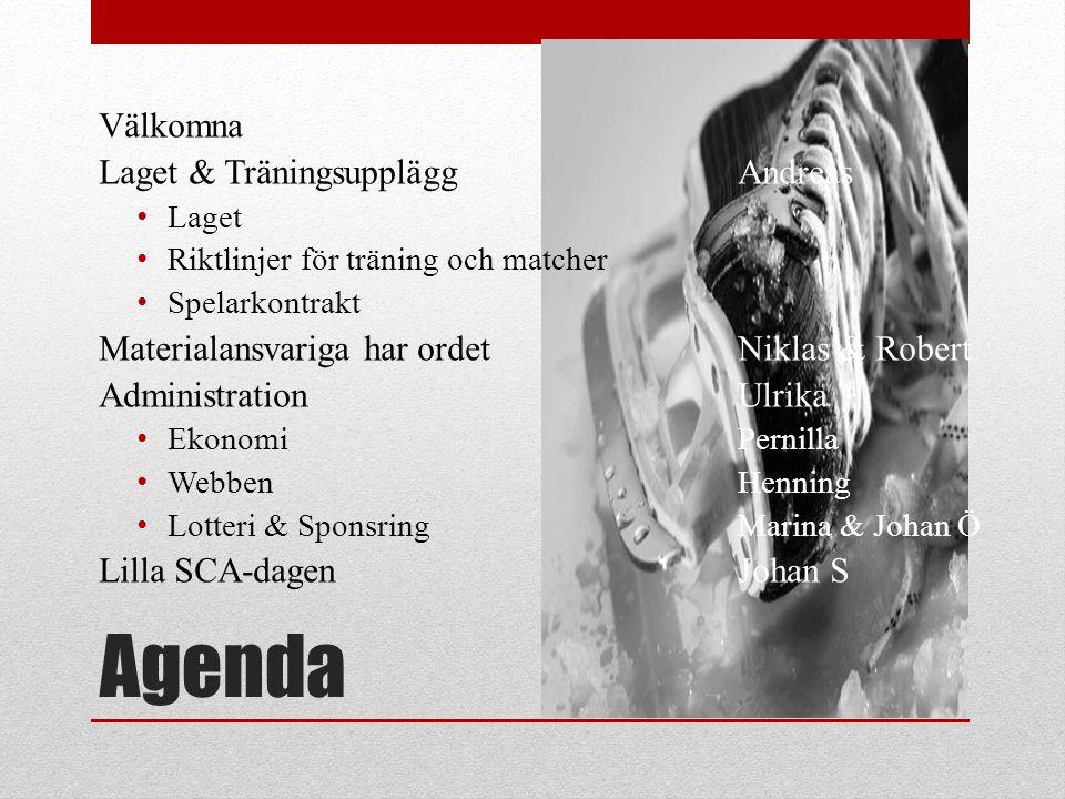 Agenda Välkomna Laget & Träningsupplägg Andreas