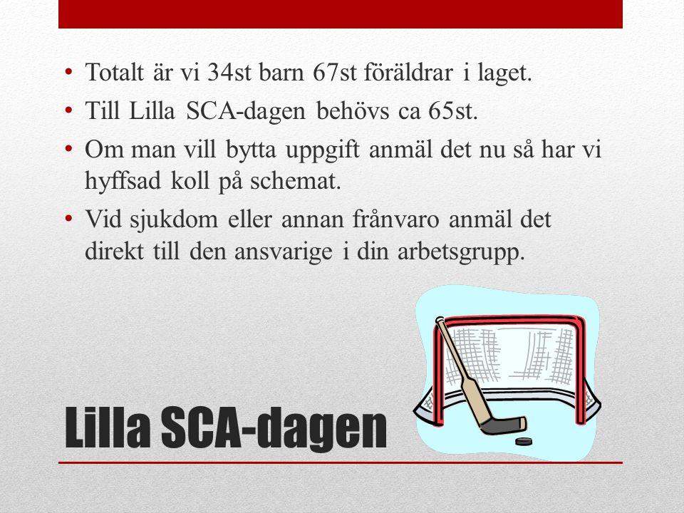 Lilla SCA-dagen Totalt är vi 34st barn 67st föräldrar i laget.