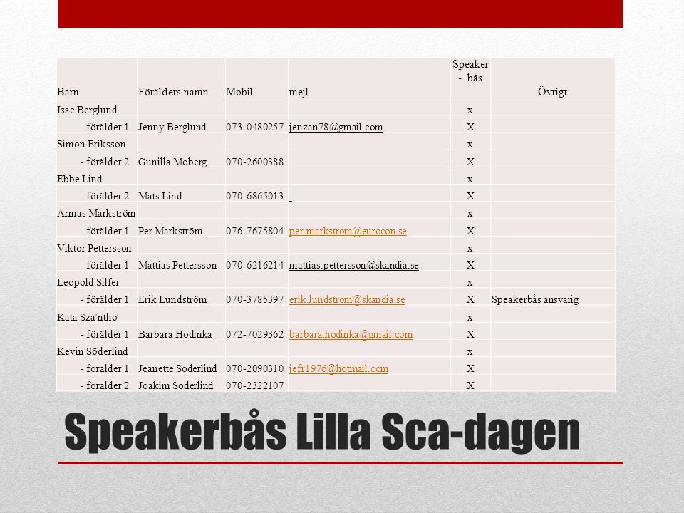 Speakerbås Lilla Sca-dagen