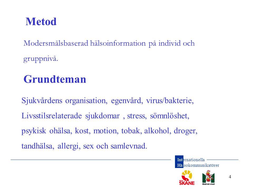 Metod Modersmålsbaserad hälsoinformation på individ och gruppnivå. Grundteman. Ett samverkansprojekt mella RegionSkåne och Malmö Stad.