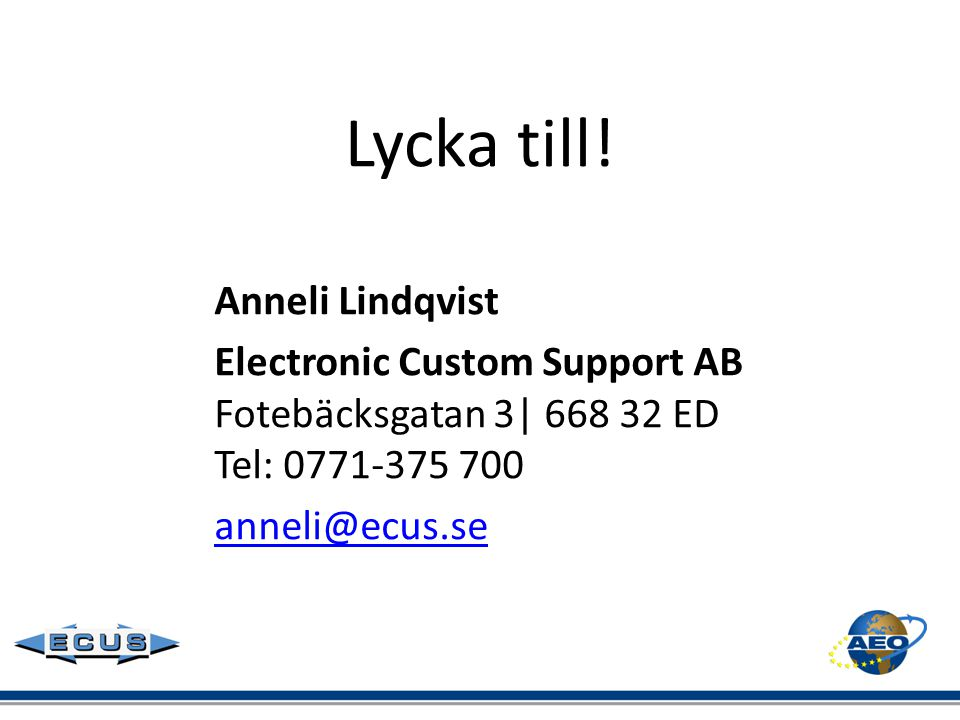 Lycka till! Anneli Lindqvist