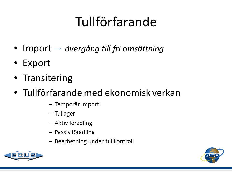 Tullförfarande Import övergång till fri omsättning Export Transitering