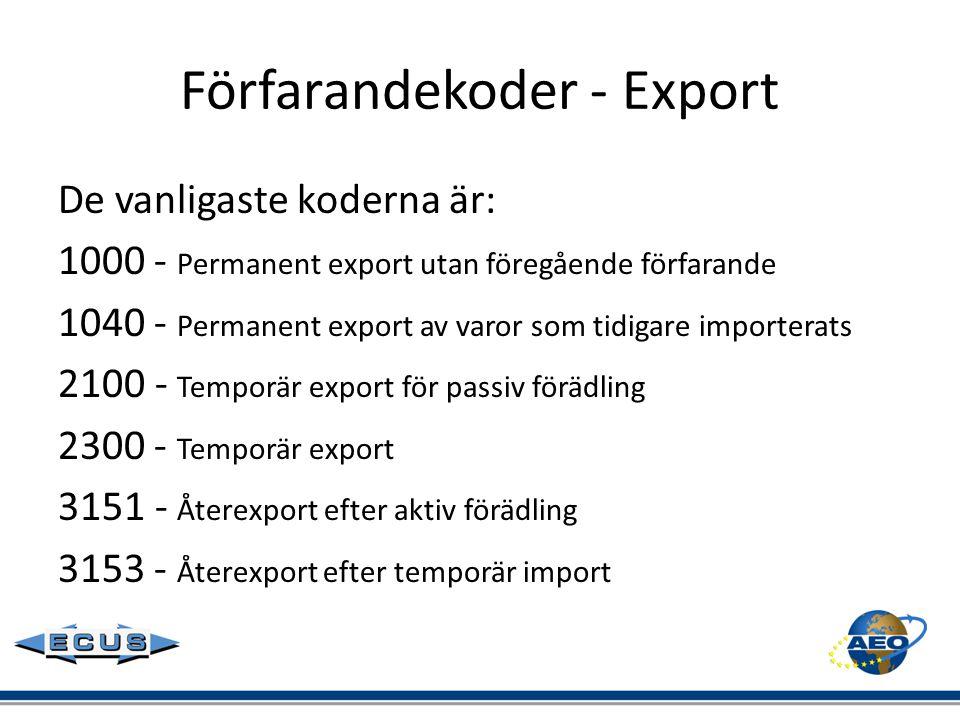 Förfarandekoder - Export