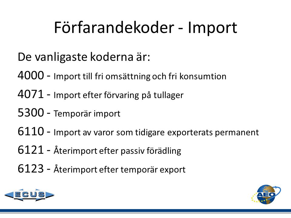 Förfarandekoder - Import