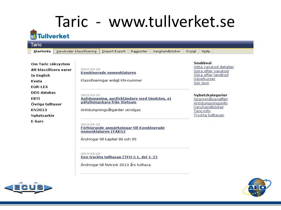 Taric - www.tullverket.se