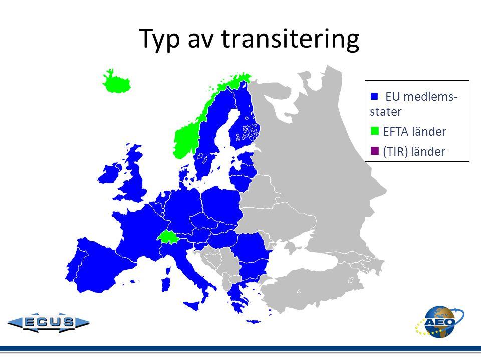 Typ av transitering  EU medlems-stater  EFTA länder  (TIR) länder