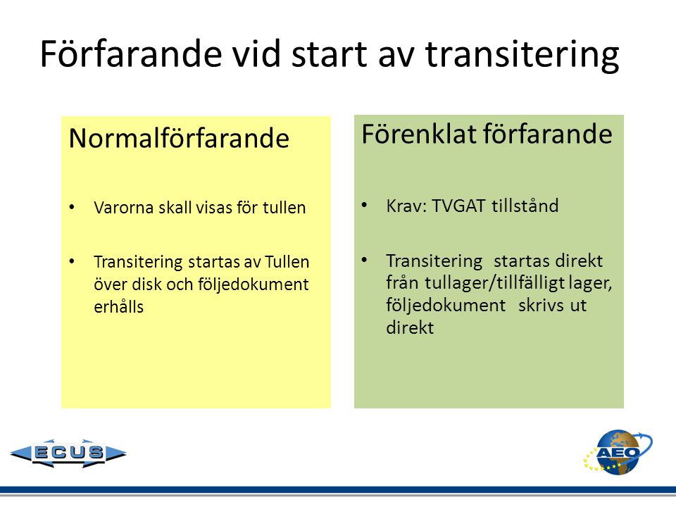 Förfarande vid start av transitering