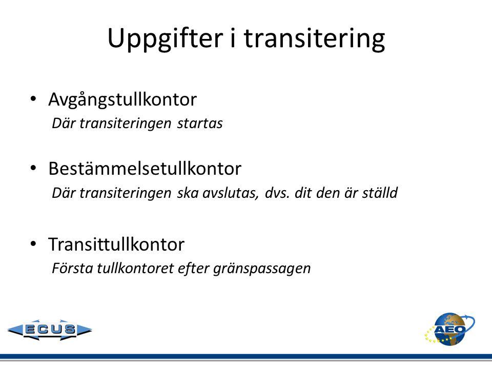 Uppgifter i transitering