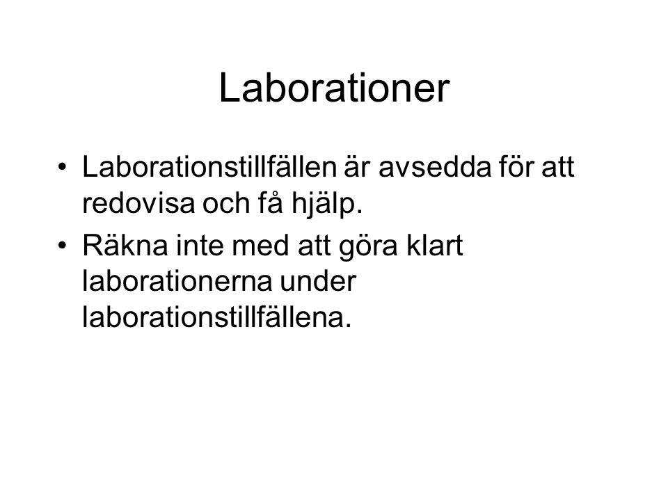 Laborationer Laborationstillfällen är avsedda för att redovisa och få hjälp.