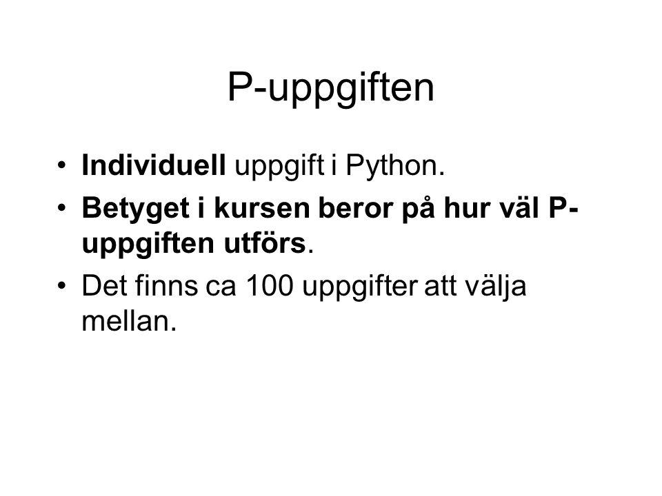 P-uppgiften Individuell uppgift i Python.