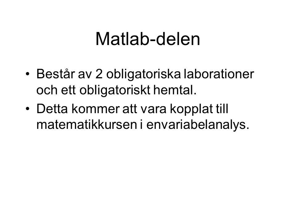 Matlab-delen Består av 2 obligatoriska laborationer och ett obligatoriskt hemtal.