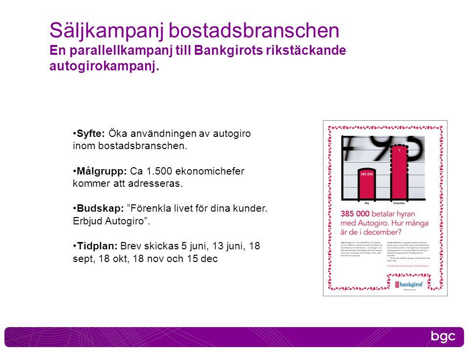 2017-04-03 Säljkampanj bostadsbranschen En parallellkampanj till Bankgirots rikstäckande autogirokampanj.