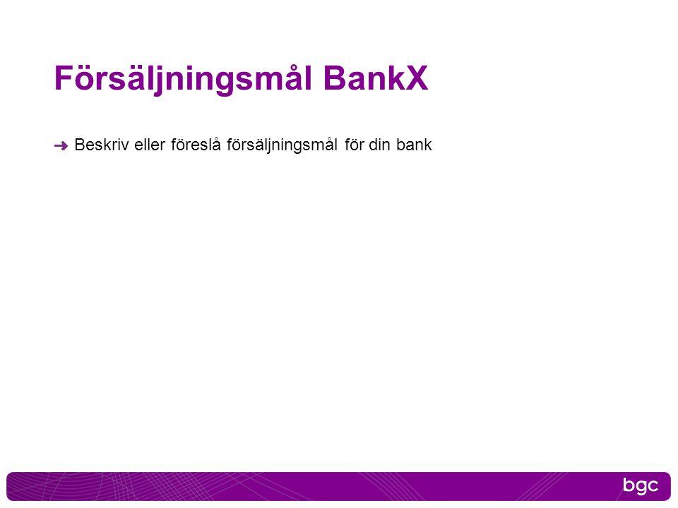 Försäljningsmål BankX