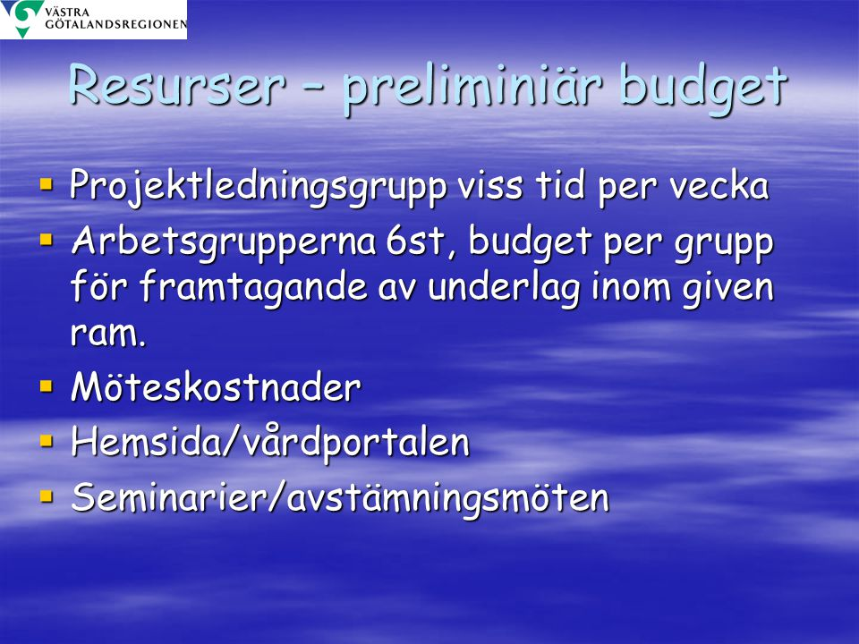 Resurser – preliminiär budget
