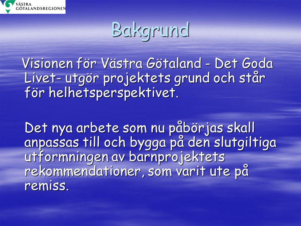 Bakgrund Visionen för Västra Götaland - Det Goda Livet- utgör projektets grund och står för helhetsperspektivet.