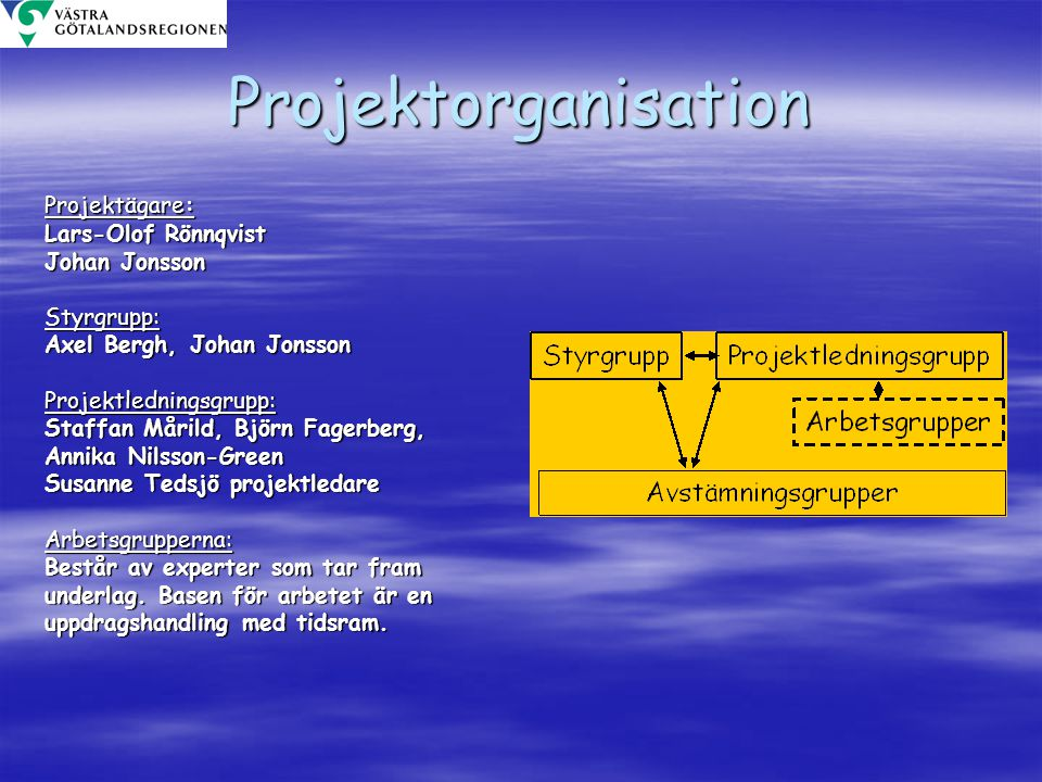 Projektorganisation Projektägare: Lars-Olof Rönnqvist Johan Jonsson