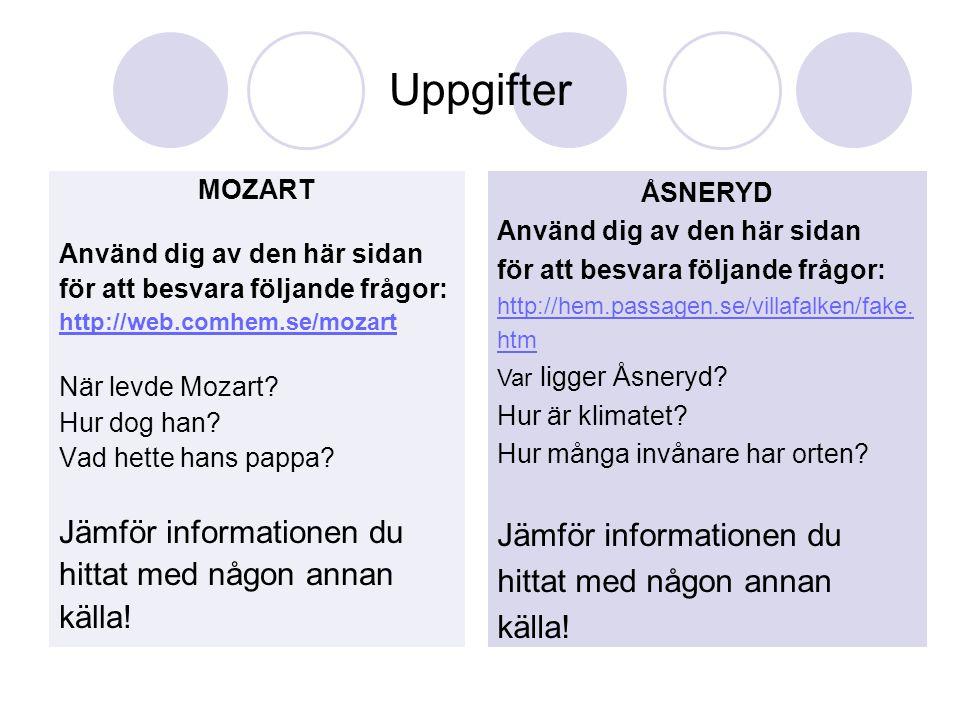 Uppgifter Jämför informationen du Jämför informationen du