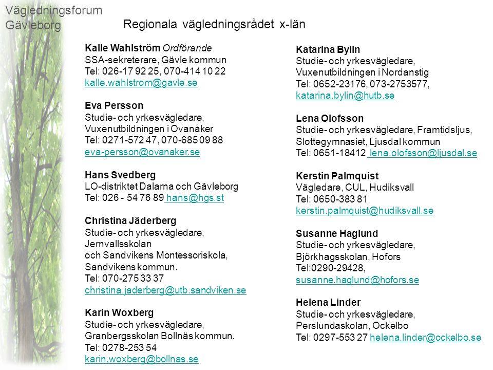 Vägledningsforum Gävleborg Regionala vägledningsrådet x-län