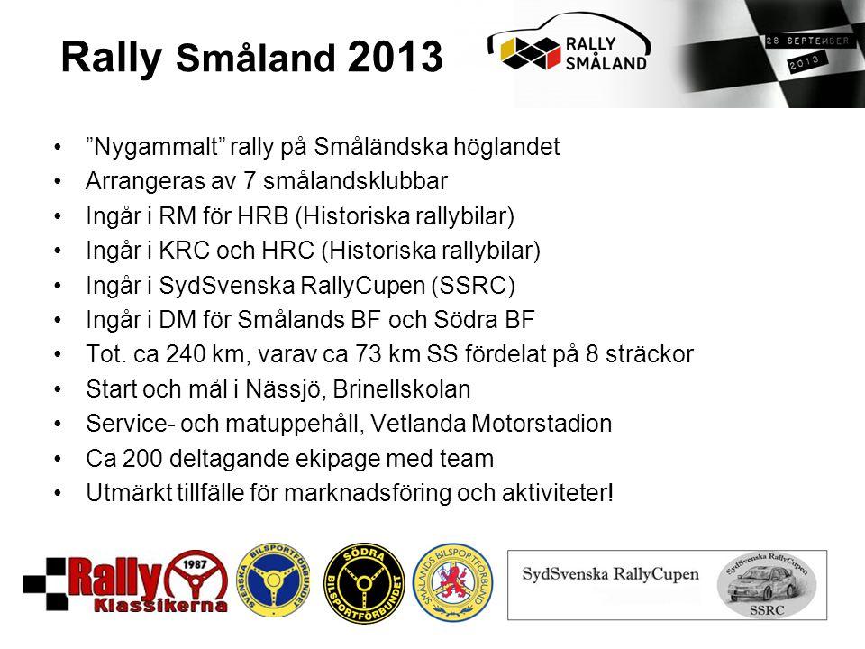 Rally Småland 2013 Nygammalt rally på Småländska höglandet