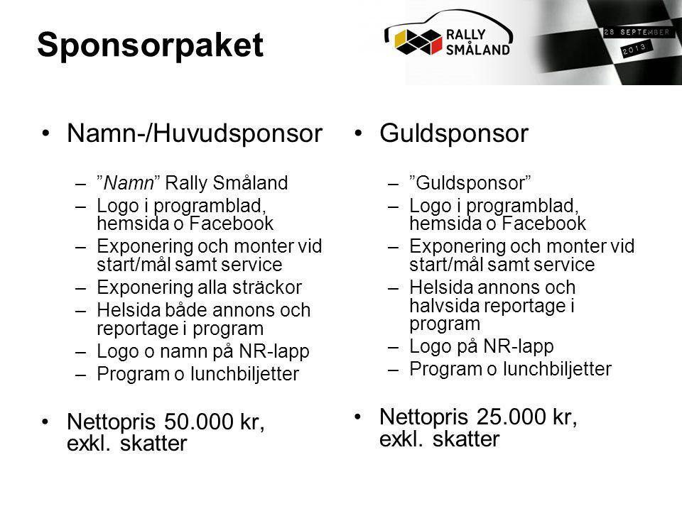 Sponsorpaket Namn-/Huvudsponsor Guldsponsor
