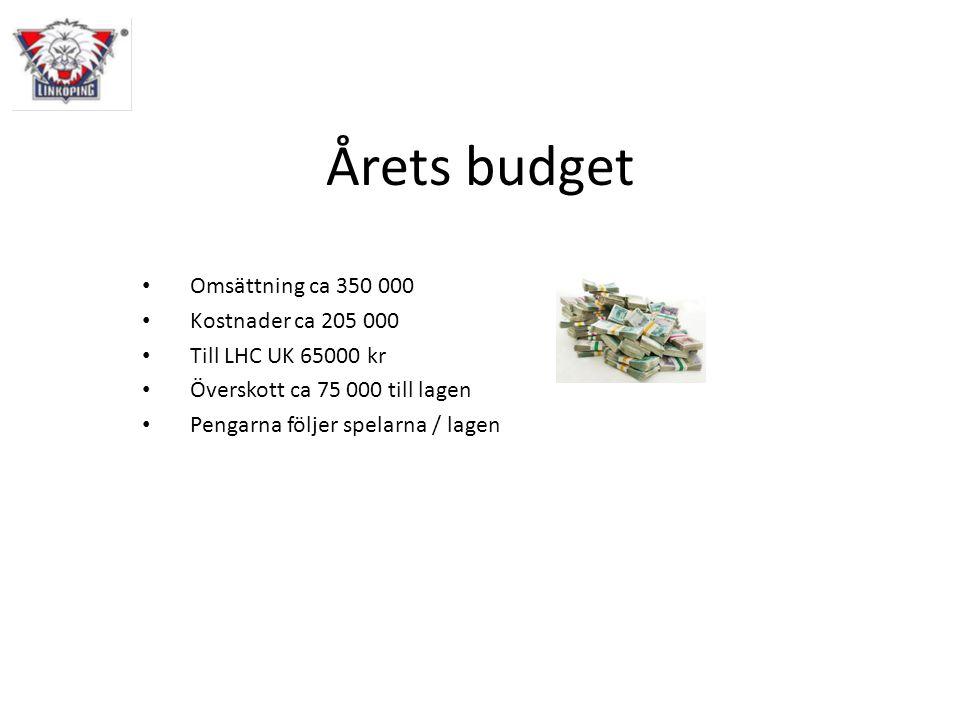 Årets budget Omsättning ca 350 000 Kostnader ca 205 000