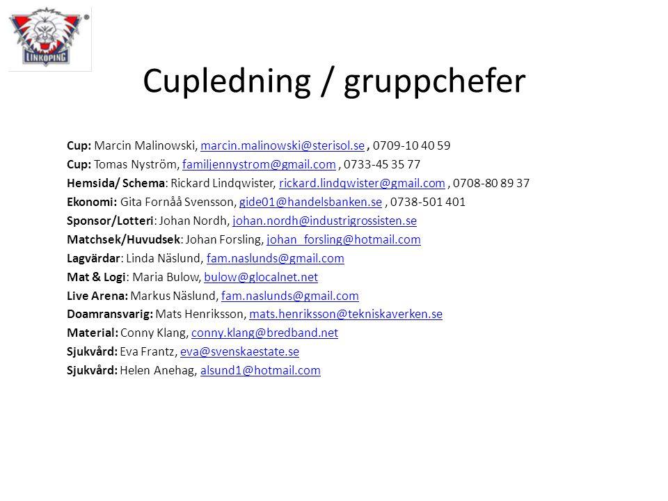 Cupledning / gruppchefer