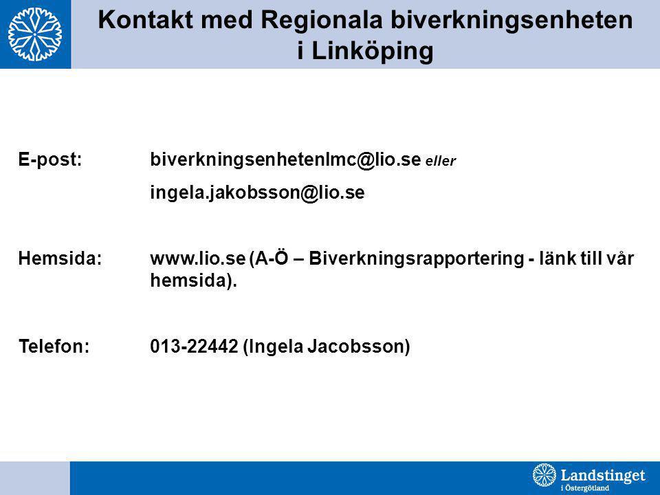 Kontakt med Regionala biverkningsenheten i Linköping