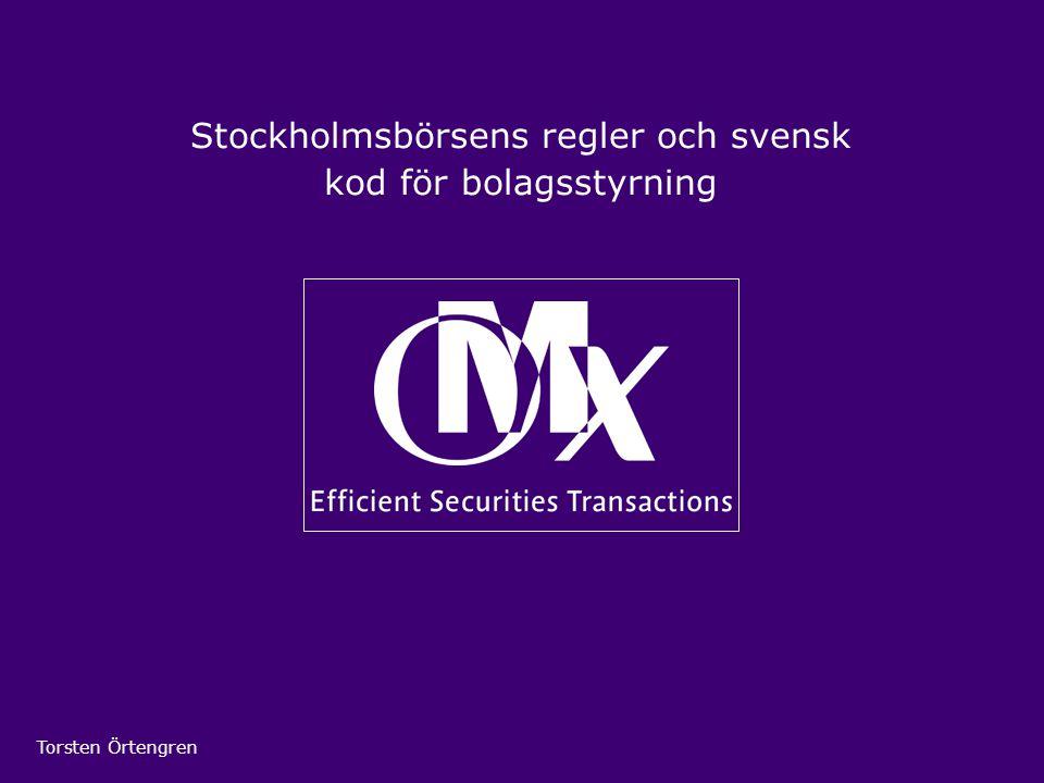 Stockholmsbörsens regler och svensk kod för bolagsstyrning