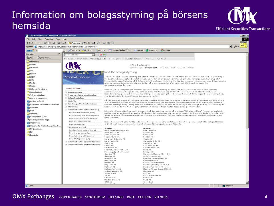 Information om bolagsstyrning på börsens hemsida