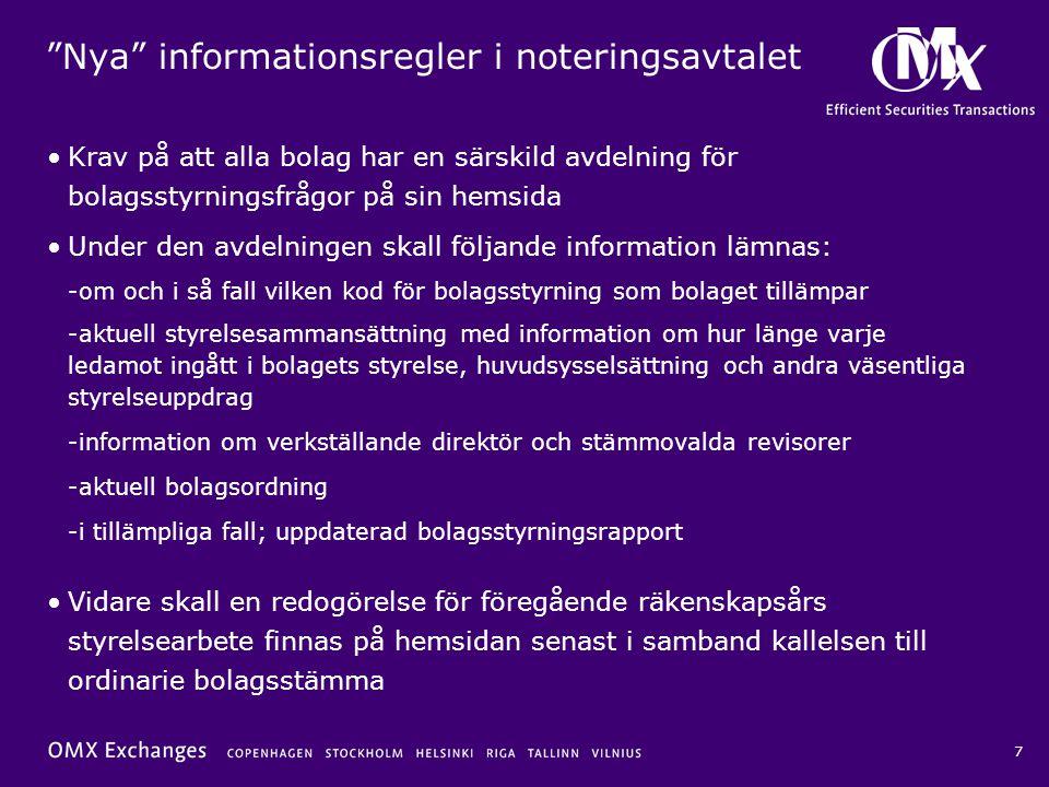 Nya informationsregler i noteringsavtalet