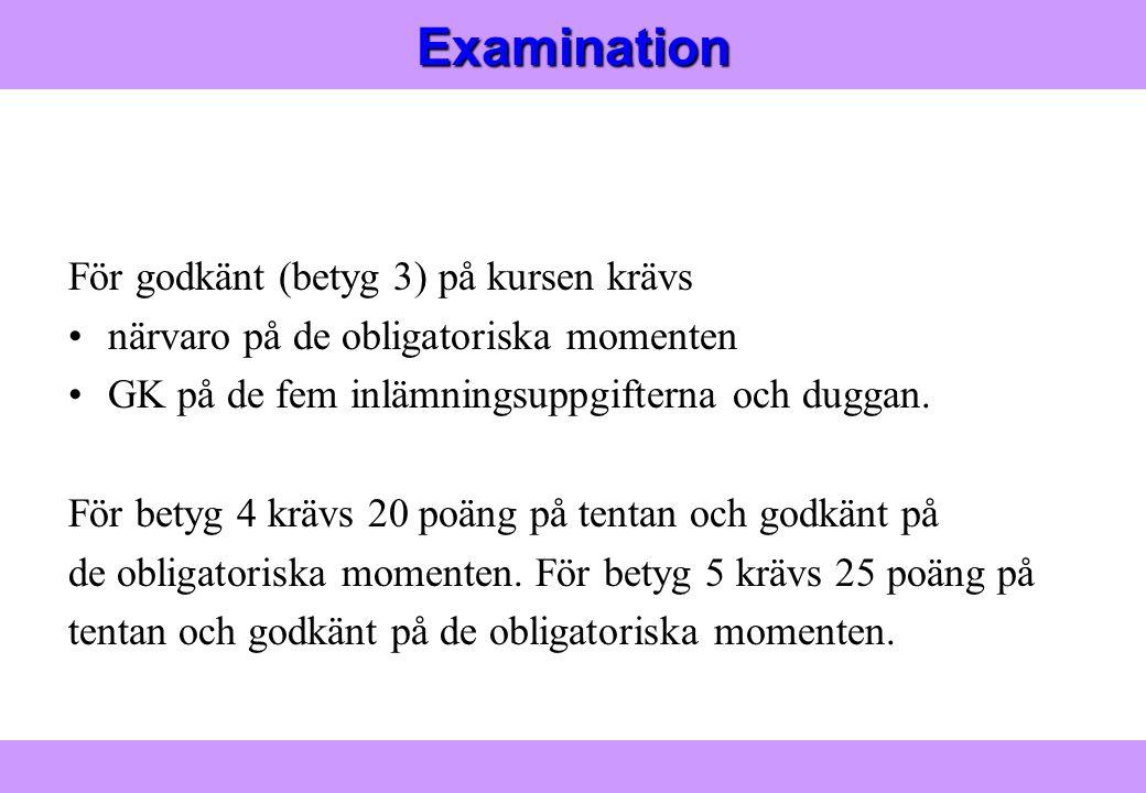 Examination För godkänt (betyg 3) på kursen krävs