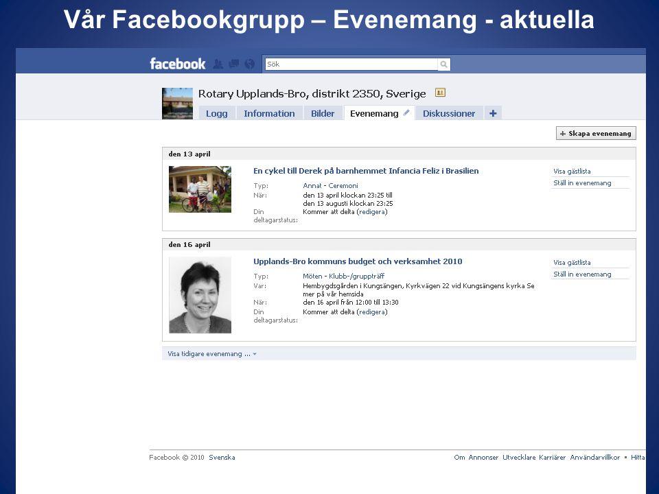 Vår Facebookgrupp – Evenemang - aktuella