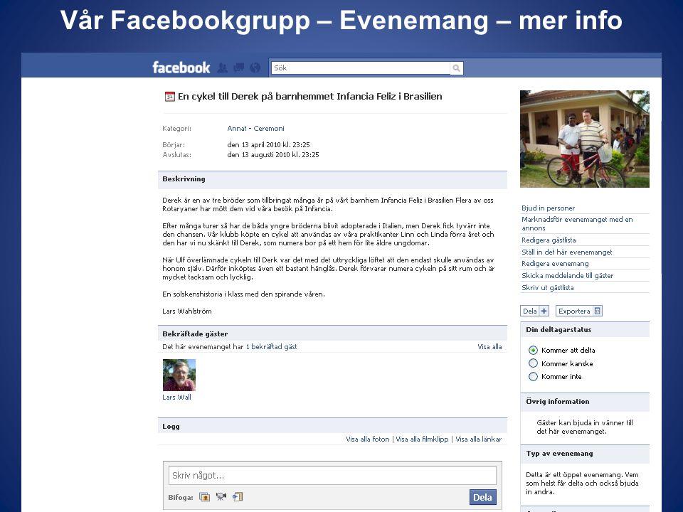 Vår Facebookgrupp – Evenemang – mer info