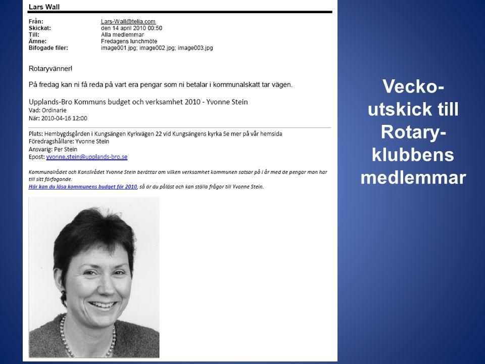 Vecko-utskick till Rotary-klubbens medlemmar
