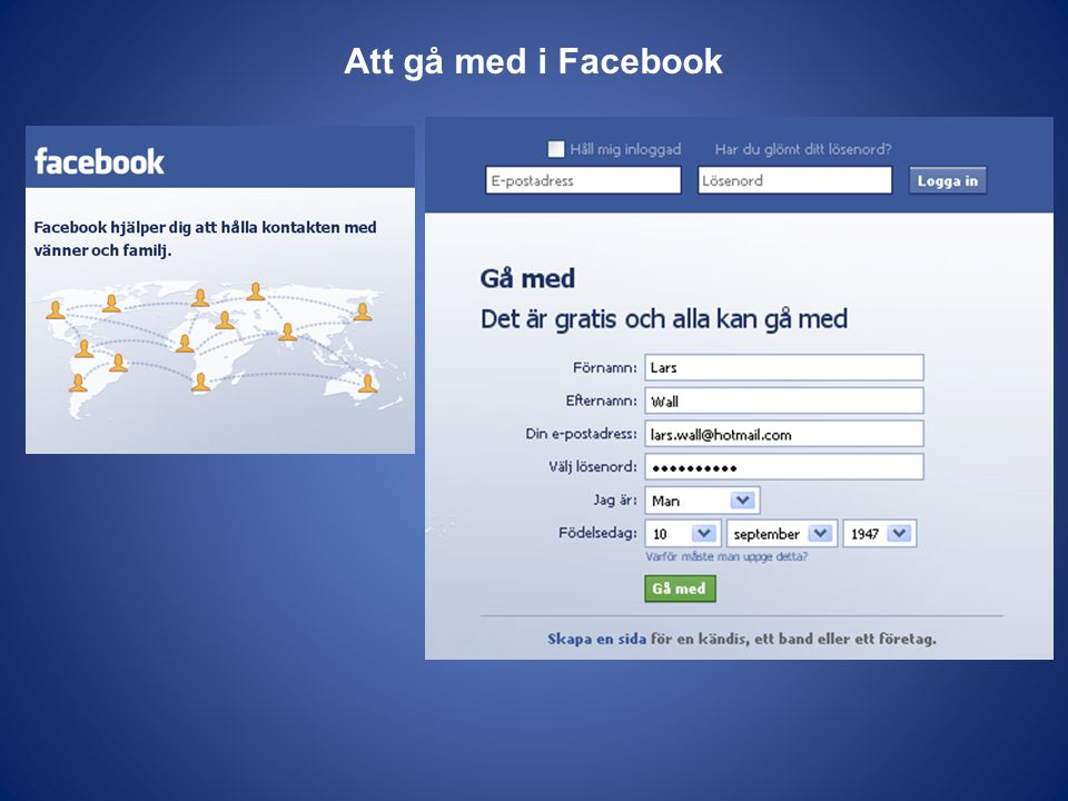 Att gå med i Facebook