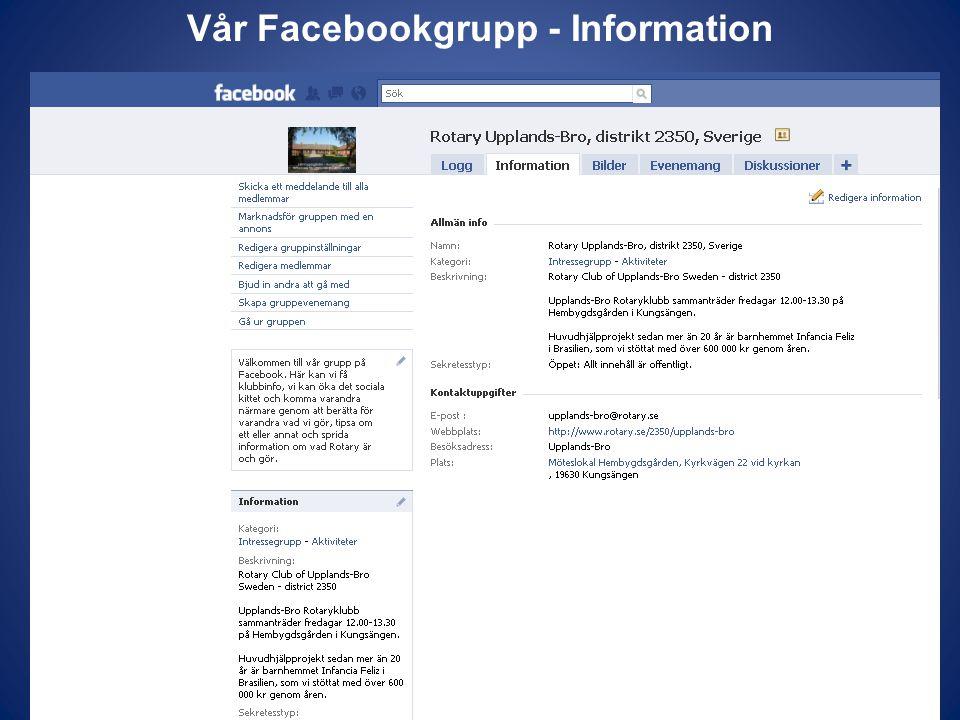 Vår Facebookgrupp - Information