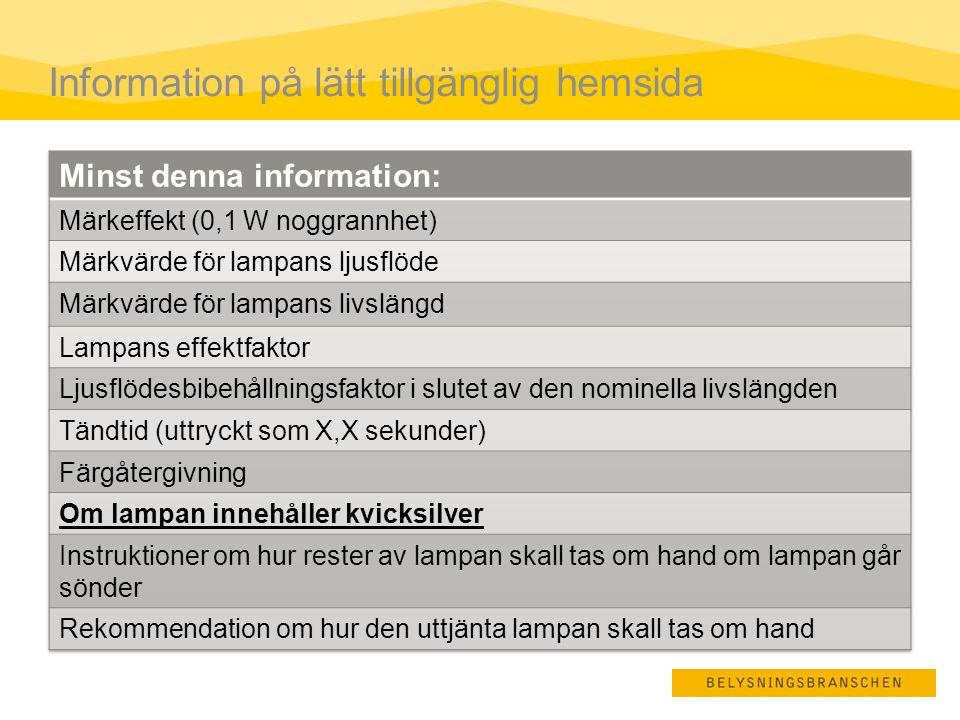 Information på lätt tillgänglig hemsida