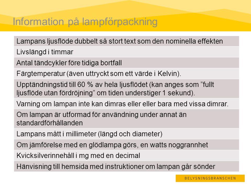Information på lampförpackning