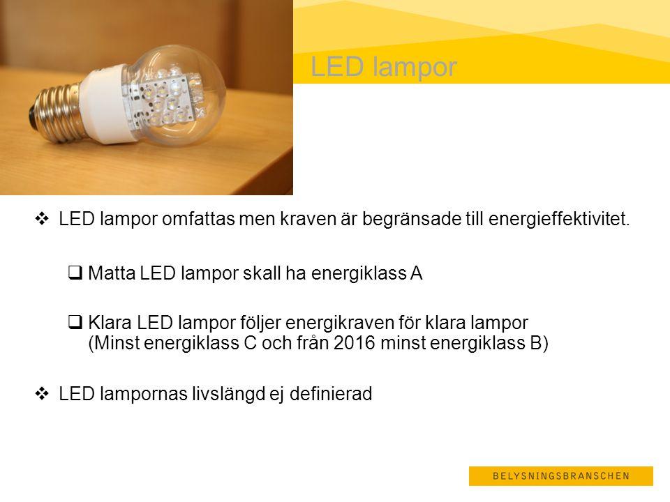 LED lampor LED lampor omfattas men kraven är begränsade till energieffektivitet. Matta LED lampor skall ha energiklass A.