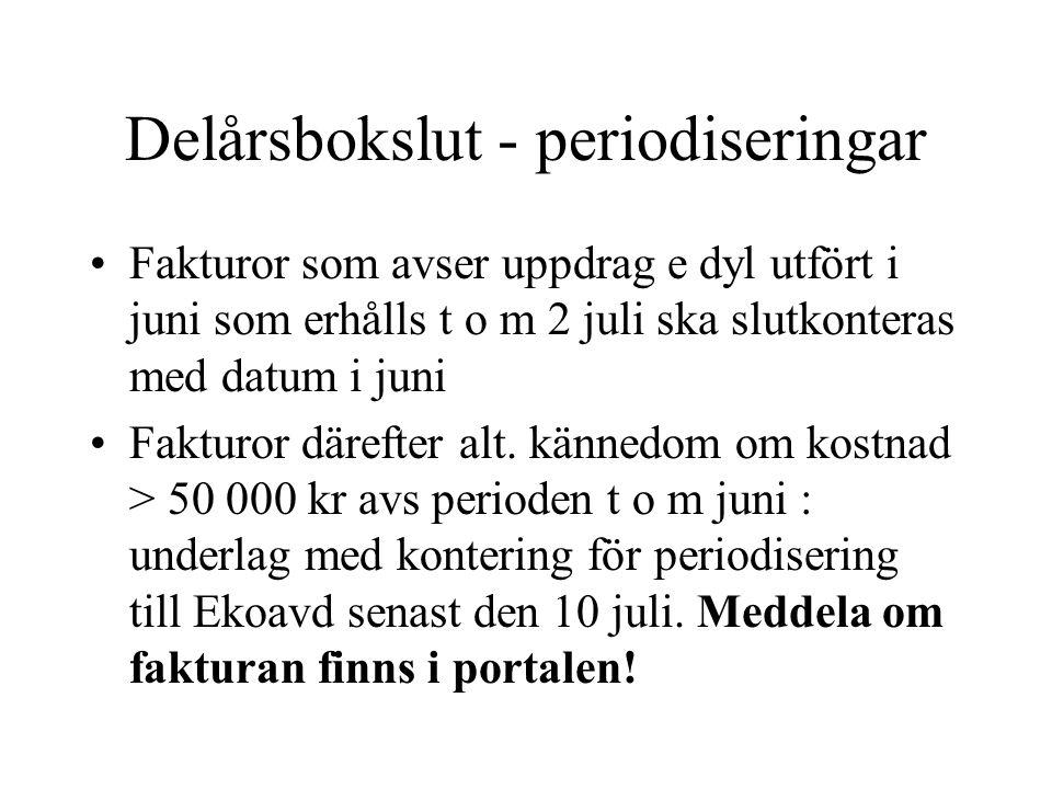 Delårsbokslut - periodiseringar