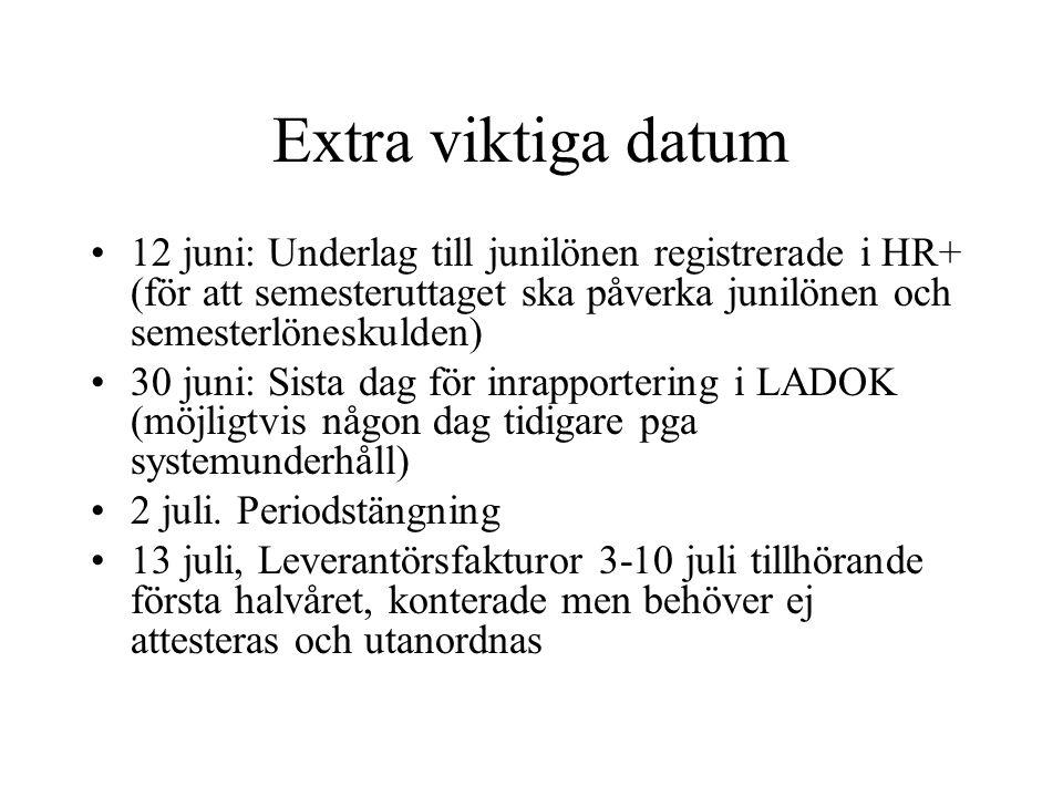 Extra viktiga datum 12 juni: Underlag till junilönen registrerade i HR+ (för att semesteruttaget ska påverka junilönen och semesterlöneskulden)