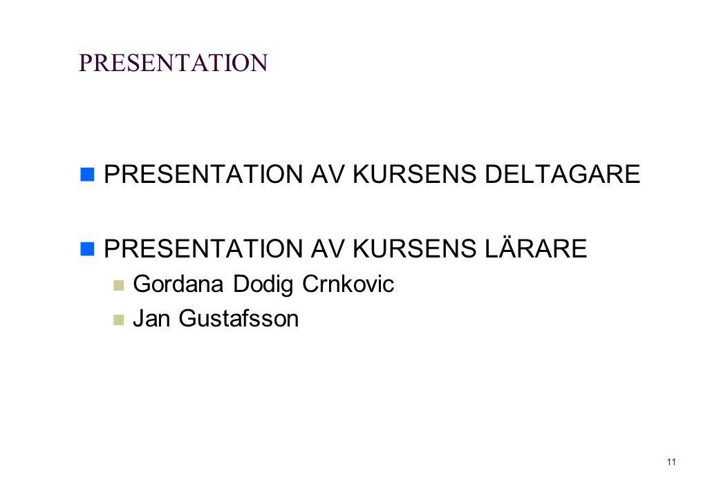 PRESENTATION AV KURSENS DELTAGARE PRESENTATION AV KURSENS LÄRARE